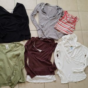 Lot of 6 long sleeve shirts & 1 tank